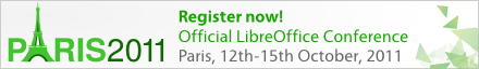 Register now! Official LibreOffice Converence, Paris, 12th-15th October, 2011